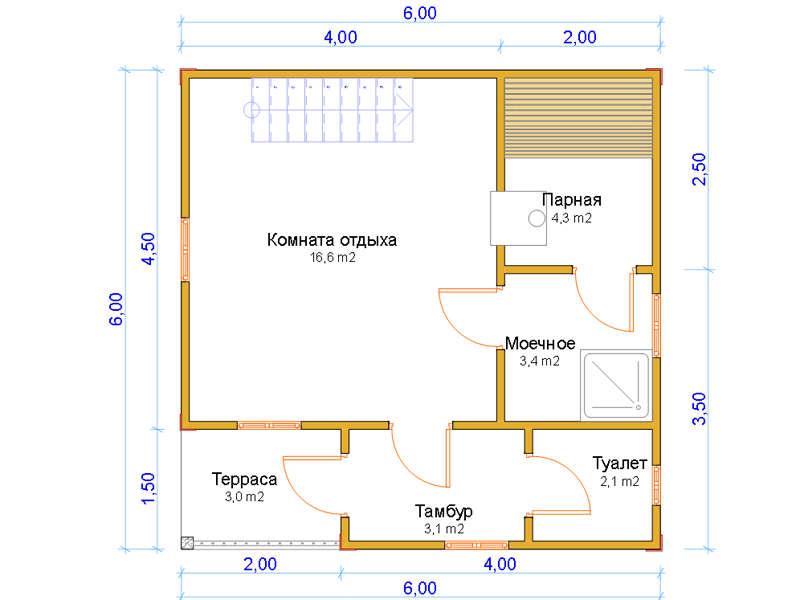 проект двухэтажных бань из пеноблоков